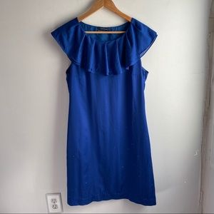 Club Monaco blue ruffle collar sleeveless dress